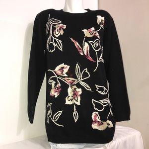 Alfred Dunner Vintage Black Floral Knit Sweater